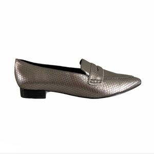 Marc Fisher metallic embossed faux leather pointy toe block heel loafers 8.5 NWT